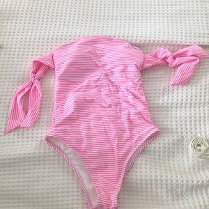 strapless one piece swim suit